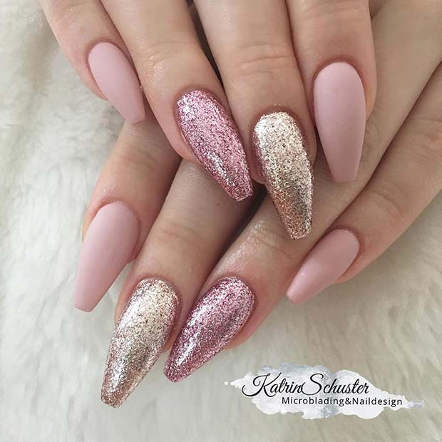 Pink and Gold Glitter Nail Idea