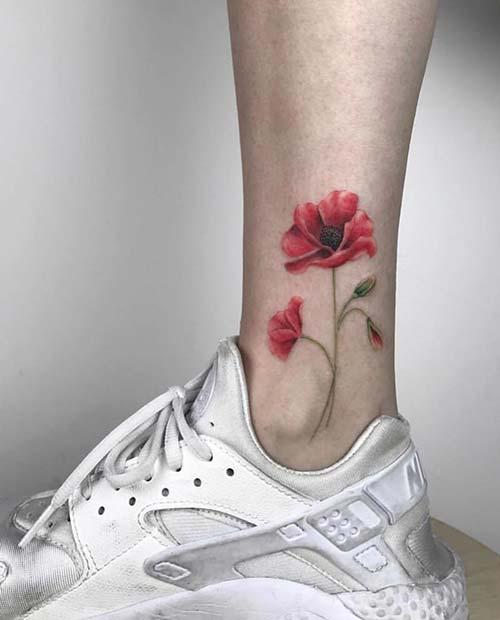 Pretty Poppy Ankle Tattoo