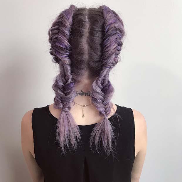 Purple Fishtail Braids