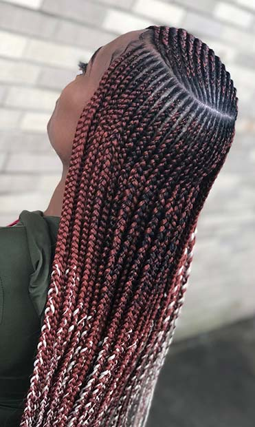 Long and Colorful Feed in Braids