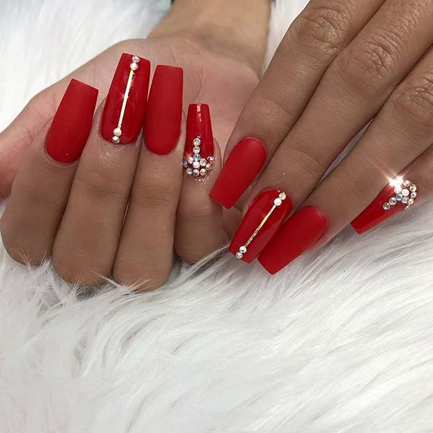 Red Coffin Nails with Rhinestones