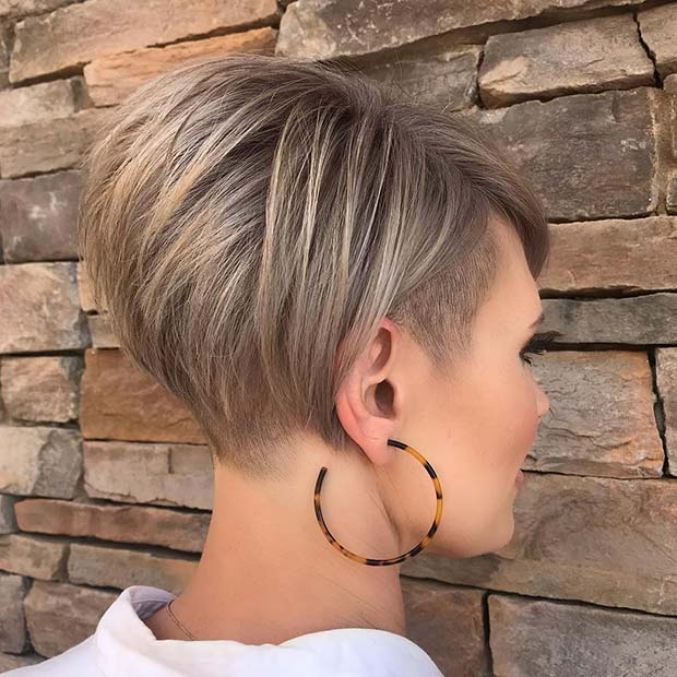 Short Blonde Stacked Bob with Undercut