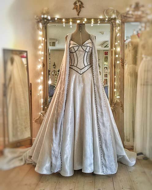 Ivory Silver Wedding Dress