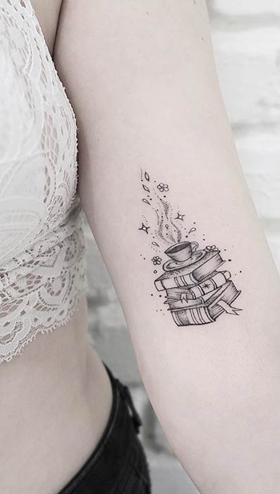 Stack of Books Small Tattoo Idea