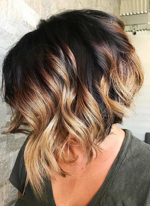 Stacked Bob with Balayage Highlights