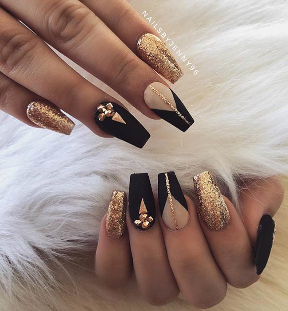 Statement Black and Gold Prom Nails