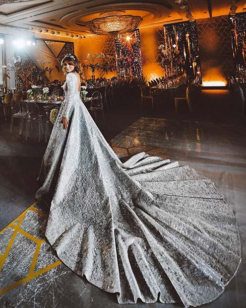 Statement Silver Wedding Dress