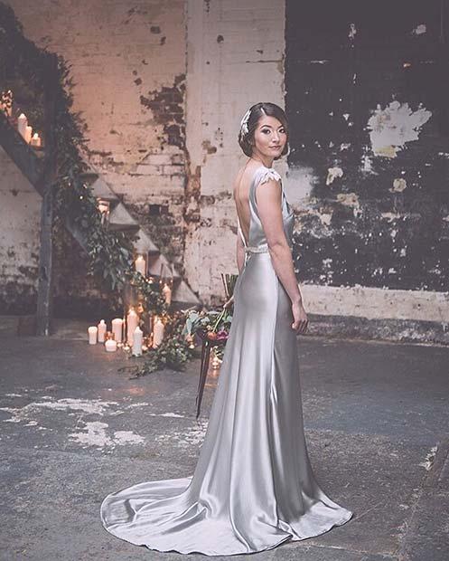 Stunning Silver Silk Wedding Dress