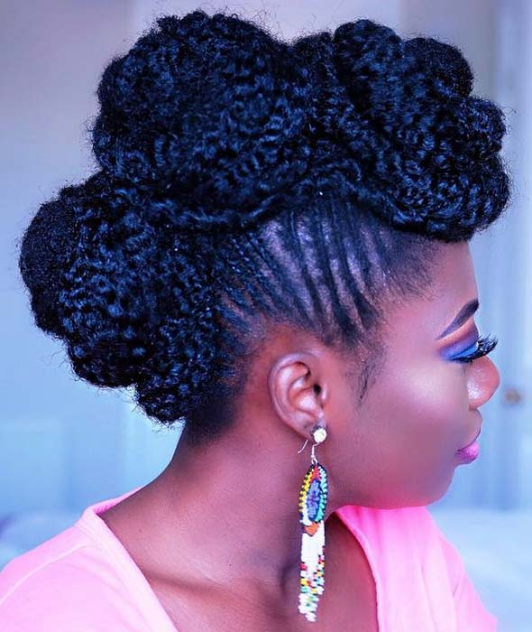 Braided Mohawk with Curly Weave