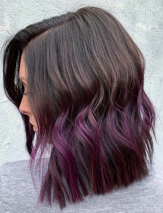 Purple Ombre Lob Hairstyle