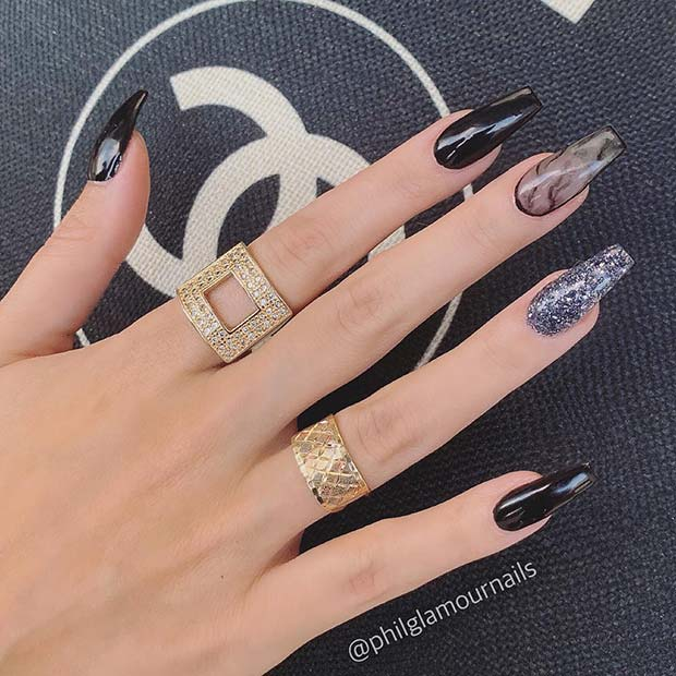Trendy Black Nails with Glitter and Marble