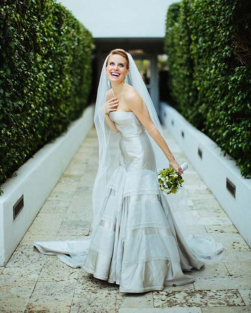 Trendy Silver Bridal Gown