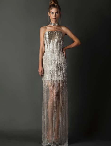 Unique Silver Wedding Dress Idea