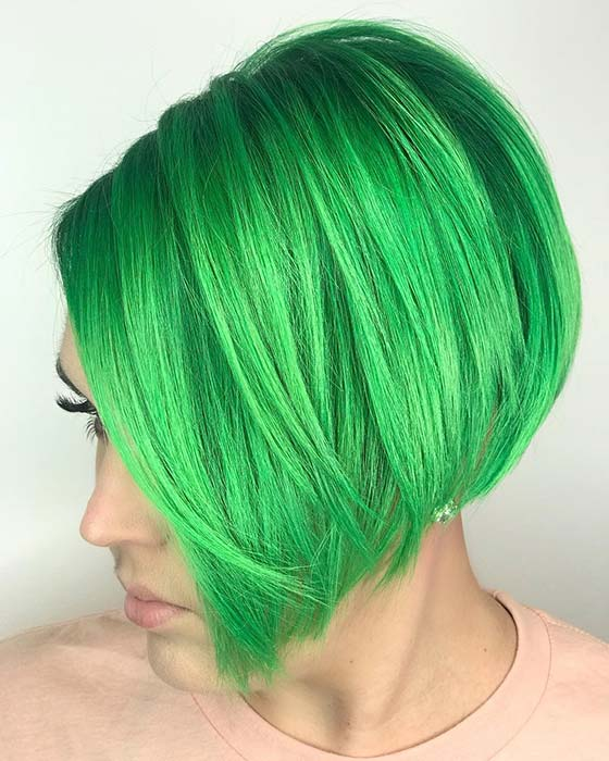 Super Short Stacked Bob in Vibrant Green