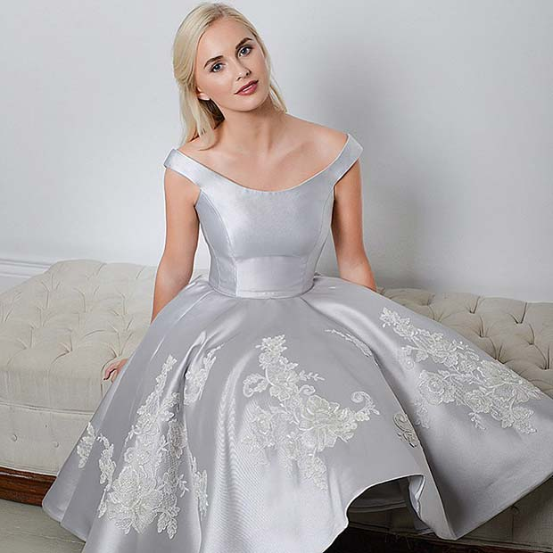 Short Silver Wedding Dress