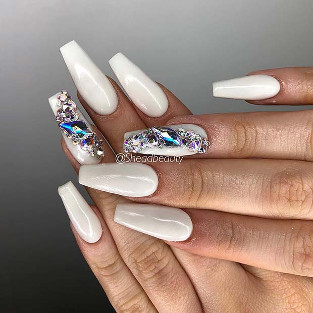 Long White Nails with Rhinestones