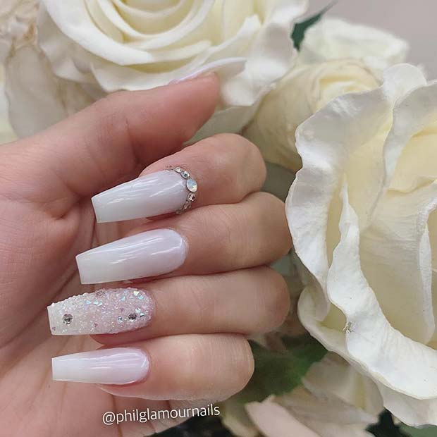 White Nails with Crystals and Gems