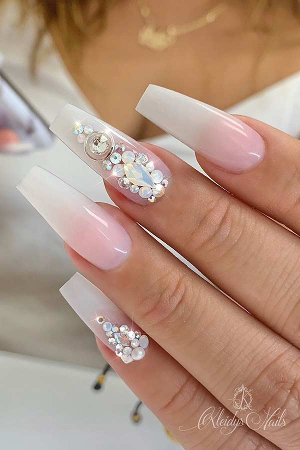 White Ombre Nails with Rhinestones