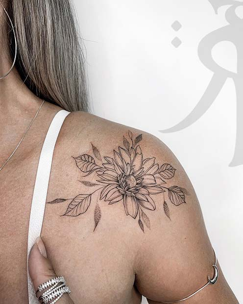 Beautiful Flower Shoulder Tattoo