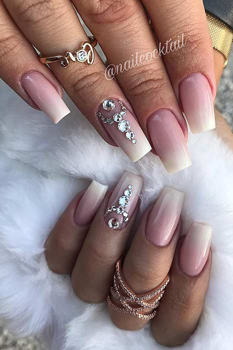 Beautiful French Ombre Nails with Crystals