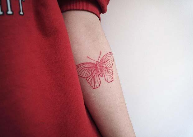 Beautiful Red Butterfly Tattoo Idea