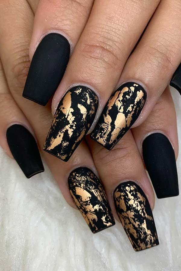 Black Matte Nails with Gold Foil