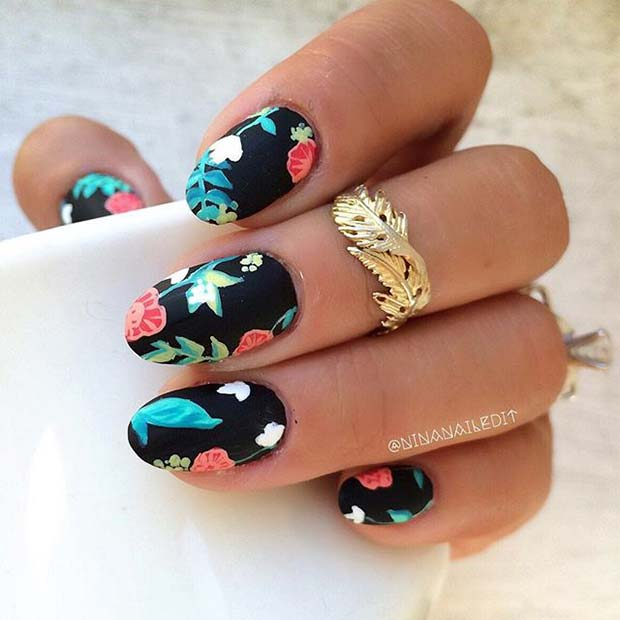 Matte Black Nails with Flower Art