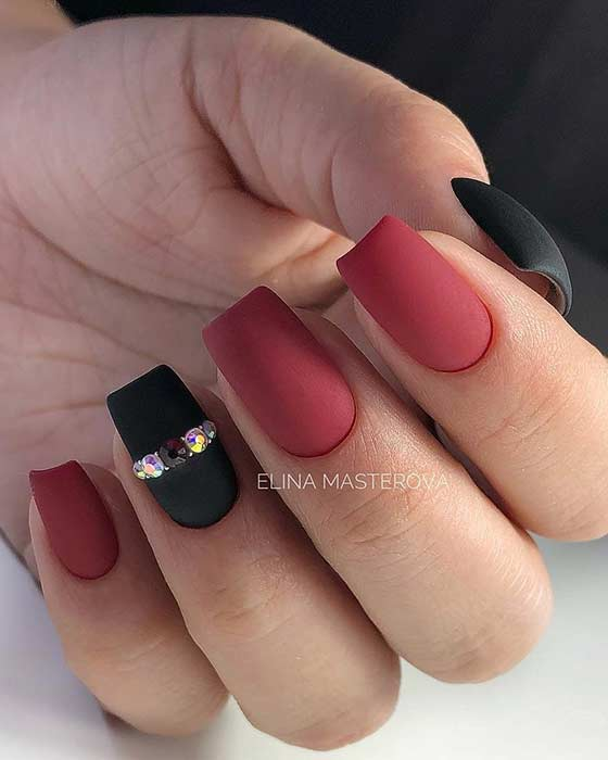 Black and Red Matte Nail Design