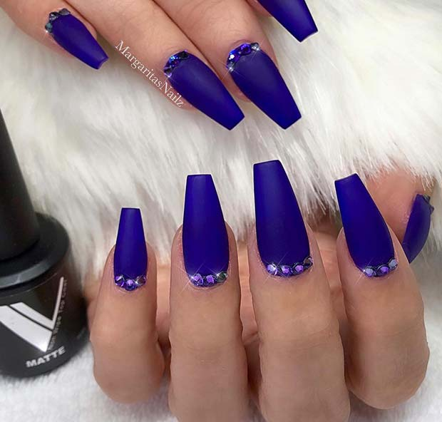 Matte Blue Coffin Nails with Gems
