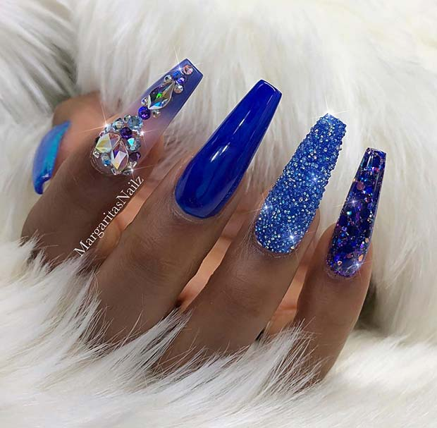 Bold Blue Nail Design for Coffin Nails