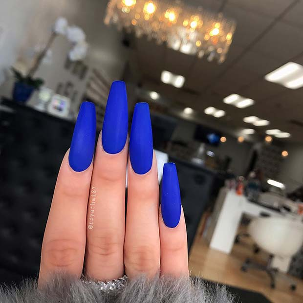 Bold Matte Blue Nails