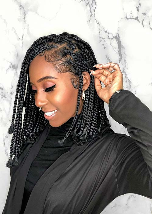 Simple Short Box Braid Style
