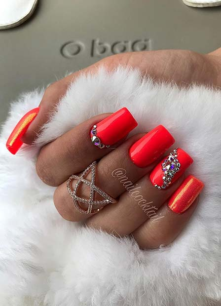 Bright Red Nails with Rhinestones
