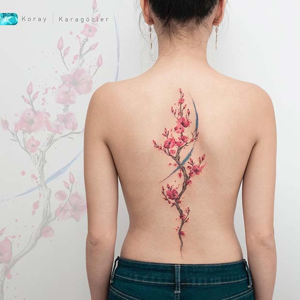 Cherry Blossom Back Tattoo Idea