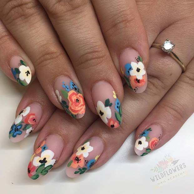 Chic Floral Spring Nails
