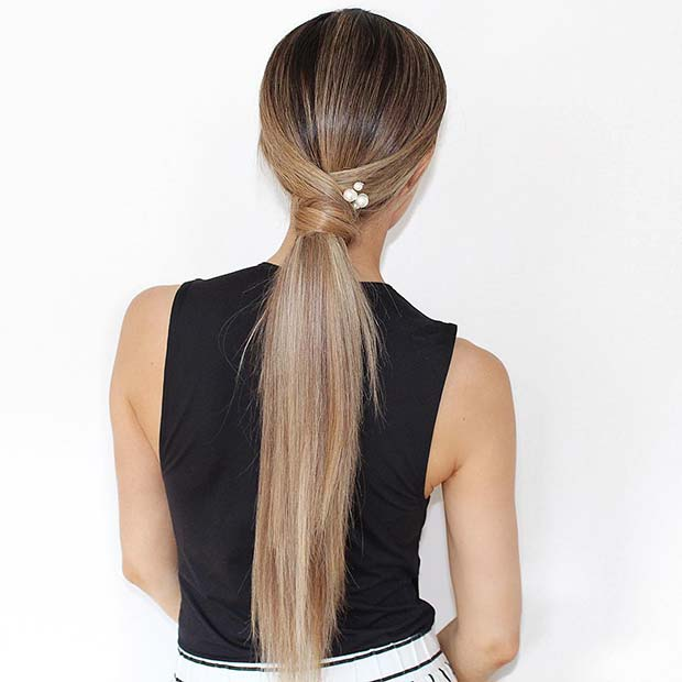 Chic Sleek Ponytail with Pearls
