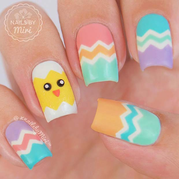 Chick and Easter Egg Nail Design
