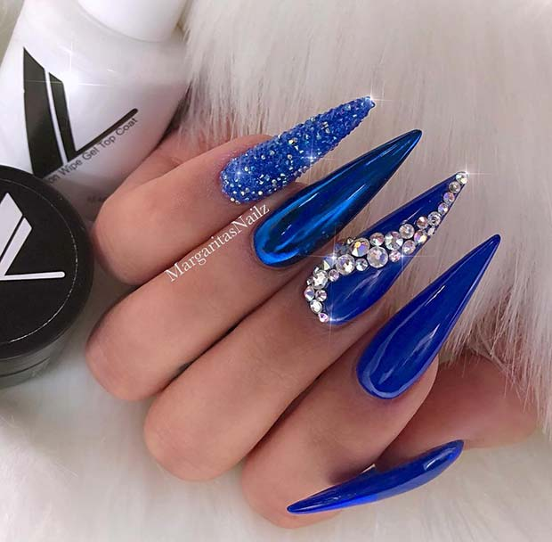 Long, Chrome Stiletto Nails