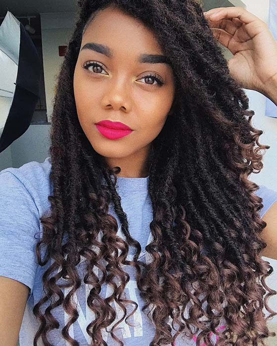 Textured Faux Locs with Curly Ends