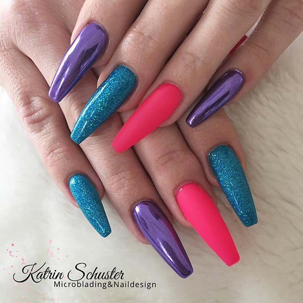 Colorful Chrome and Glitter Nails