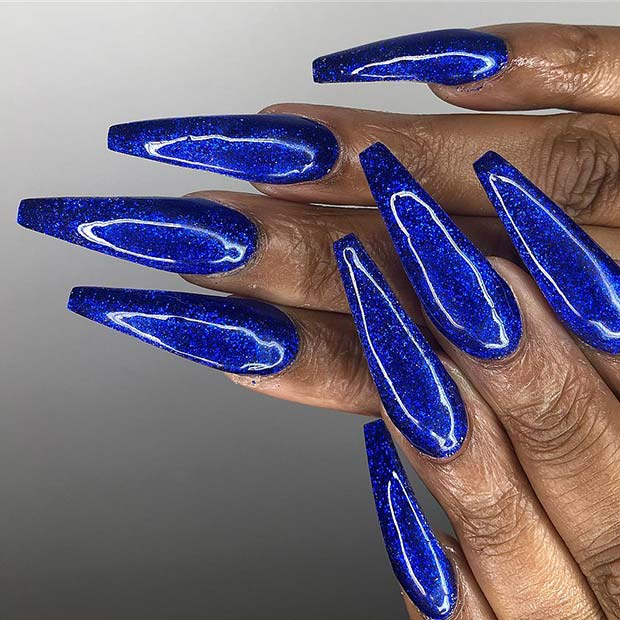 Cool Dark Blue Coffin Nails