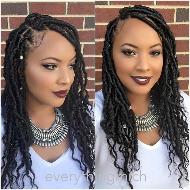 Curly, Accessorized Faux Locs