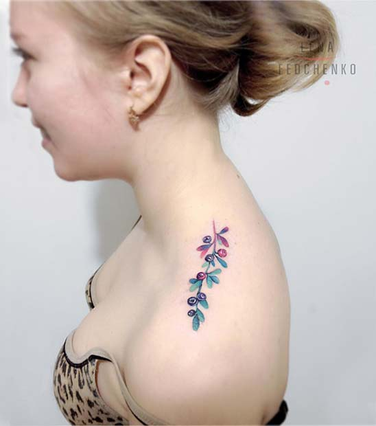 Cute Botanical Shoulder Tattoo