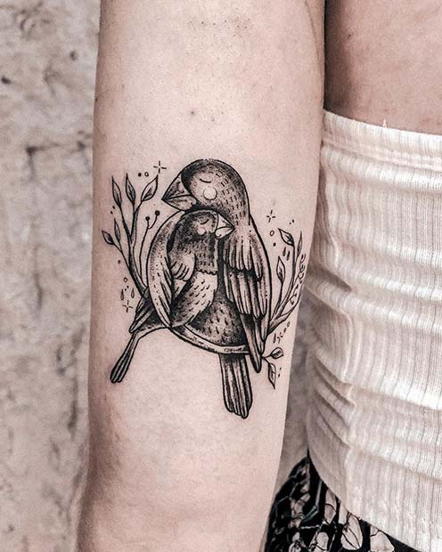 Cute Mama and Baby Parrot Tattoo