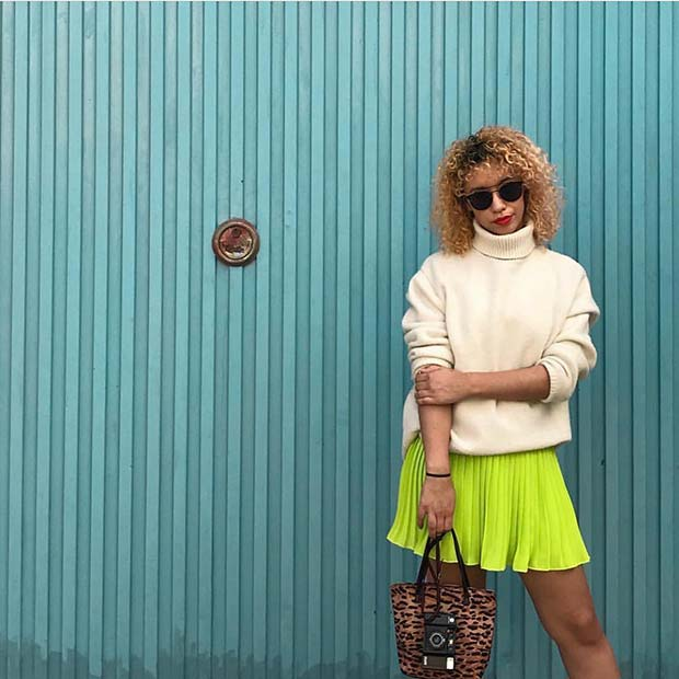Cute Sweater and Neon Skirt