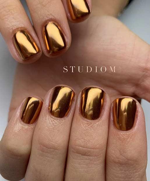 Dark Gold Chrome Nails