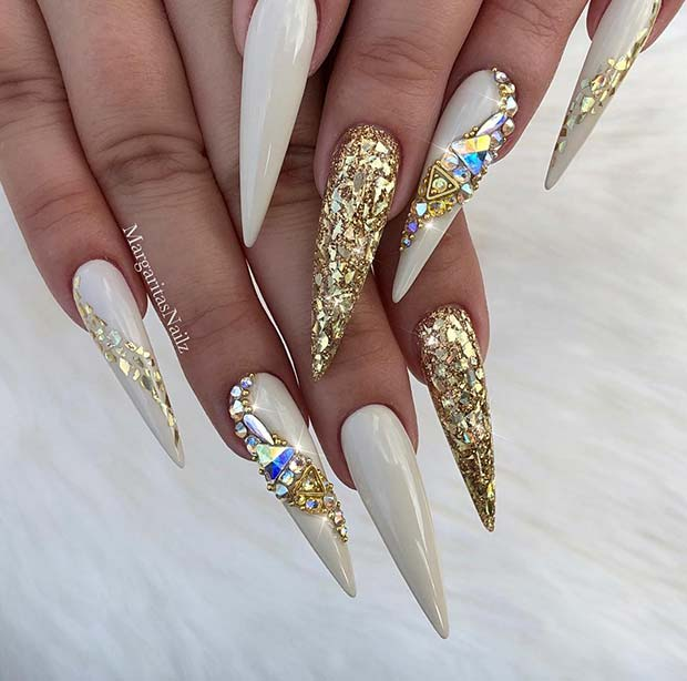 Dazzling Gold and White Stiletto Nails