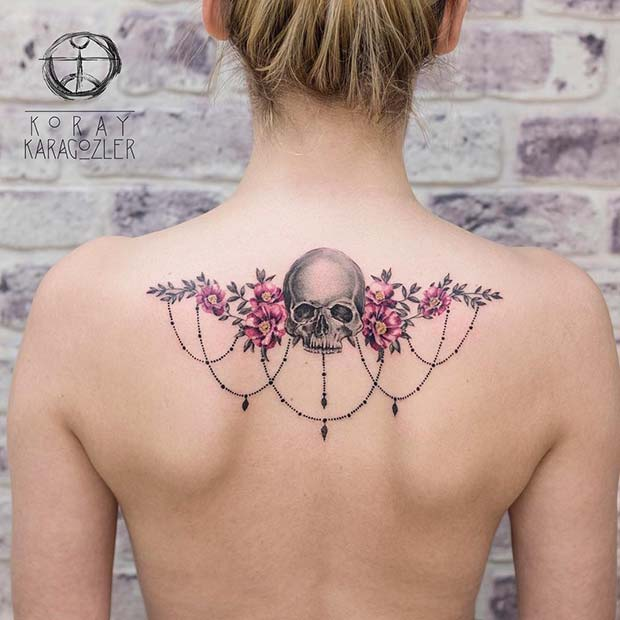 Floral Skull Back Tattoo Idea