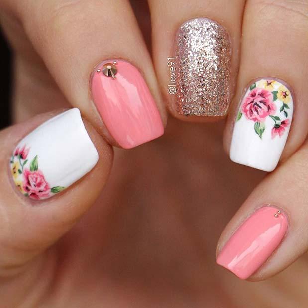 Elegant Flower Nail Idea