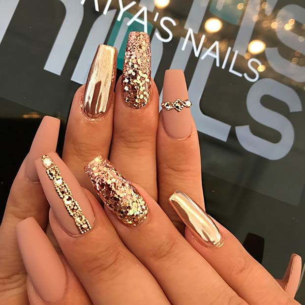 Matte and Gold Coffin Nails